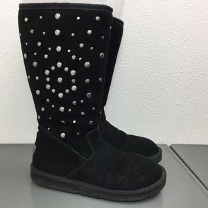 UGG Black Suede Rockstar Studded Tall Knee Boots 7